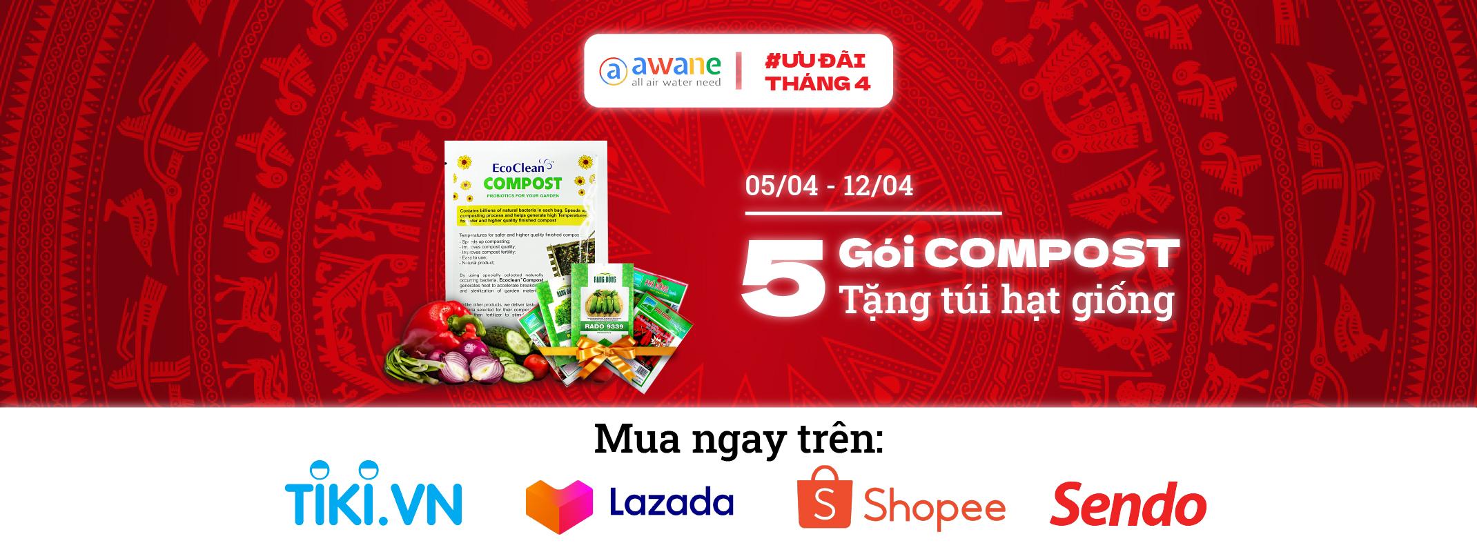 Tặng túi hạt giống khi mua combo 5 gói EcoClean Compost - #UuDaiThang4